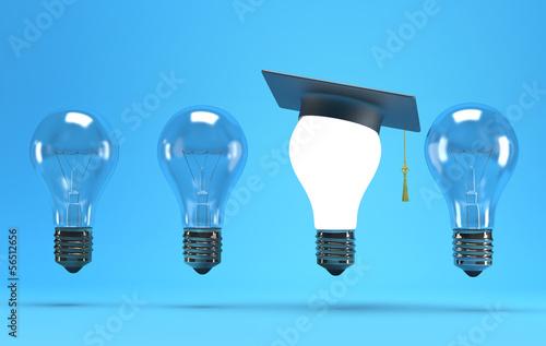 lightbulb with graduation hat