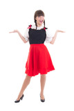 Funny german woman in typical bavarian dress dirndl