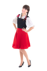 young woman in typical bavarian dress dirndl