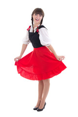 happy woman in typical bavarian dress dirndl