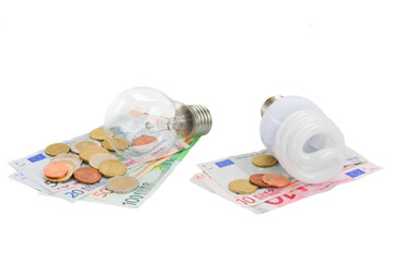 energy saving and normal   bulbs on euro money