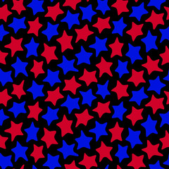 Stars seamless red and blue