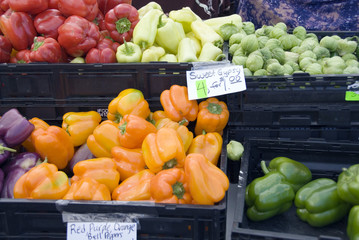 Peppers on sale at the Kittitas Farmer's Market, Ellensburg, USA