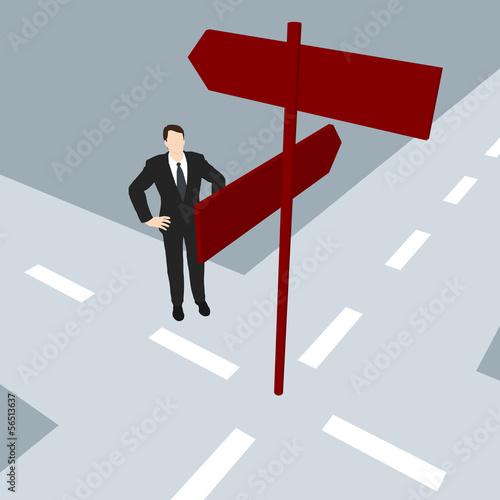 Geschäftsmann vor der Strassenkreuzung / Illustration
