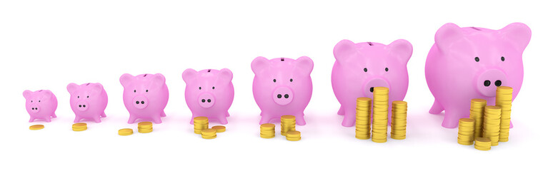 Different size piggy banks with coins