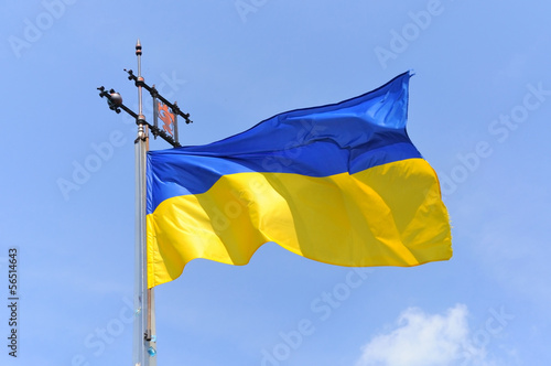 Flag of Ukraine with an emblem of Lviv