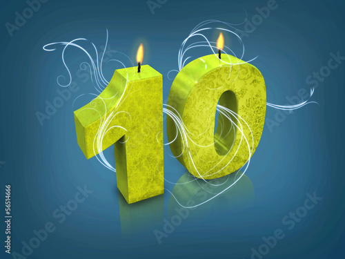 Modern typography number 10 candle