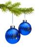 Zwei Blaue Weihnachtskugeln