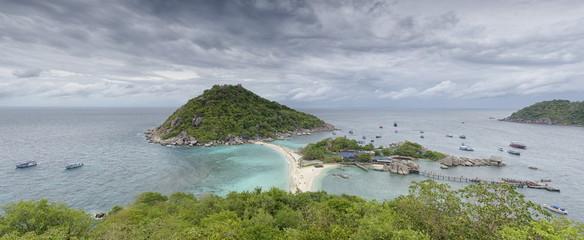 Nang Yuan island in Thailand in panoramic view