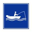 Cartel simbolo pescador en barca