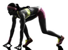 Frau Läufer auf Startblöcke Silhouette