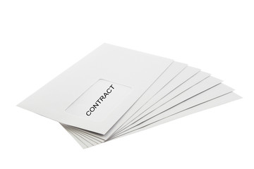 Contract on Batch of Envelopes isolated on White