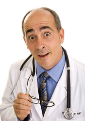 surprised doctor holding glasses