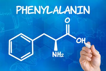 Hand zeichnet chemische Strukturformel von Phenylalanin