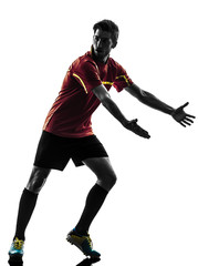 one man soccer player  complaining silhouette