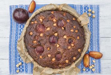 Home baked plum and hazelnut cake