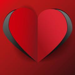 красное сердце из бумаги
