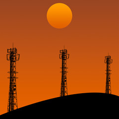 Telecommunication tower in sunset day