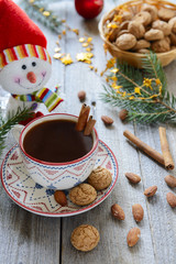 Christmas almond cookies and a cup of hot chocolate