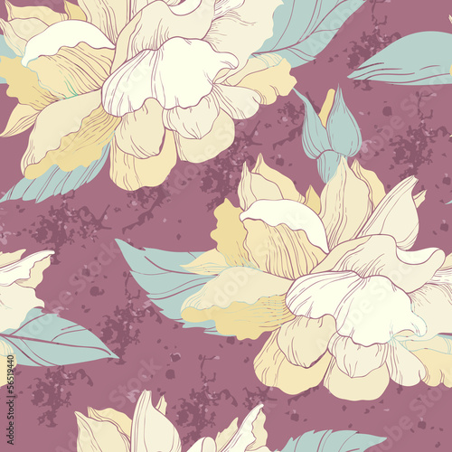 Elegant seamless pattern with rose flowers