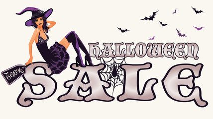 Halloween sale banner with sexy witch, vector