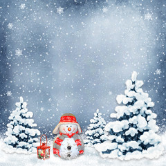 Winter background with a snowman and Christmas trees