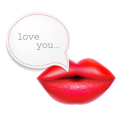 Red Lips With Speech Bubble