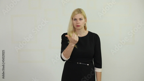 Funny woman counting on fingers