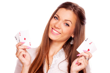Young brunette with all aces in her hand