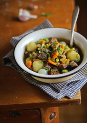 Beef stew with potatoes, carrot, onion