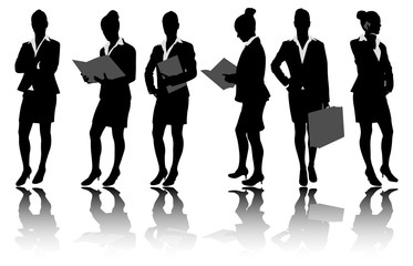 businesswoman silhouettes - vector