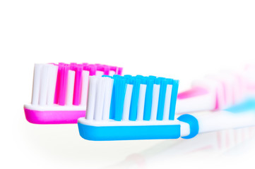 bristle toothbrushes removed large on a white background