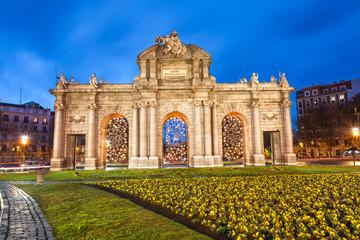 Puerta de Alcala at Christmas. Madrid, Spain