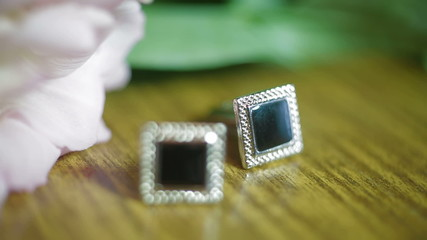 Groom's cuff links. Close-up