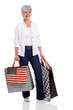 middle aged woman holding shopping bags