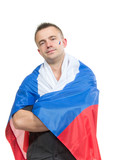 Happy russian soccer fan with russian national flag c