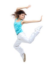 Modern sport girl woman dancer jumping pose dancing