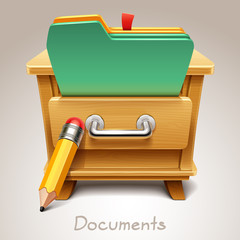 Wooden drawer illustration for documents icon