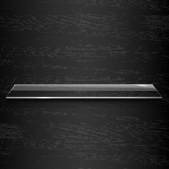 Glass Shelf On Black Wooden Background