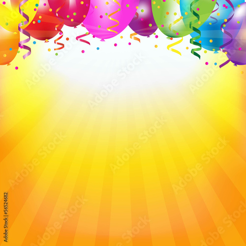 Frame With Colorful Balloons And Sunburst