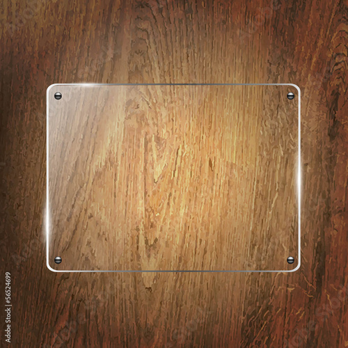 Glass Shelf On Wood Background