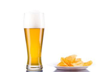 Beer and Chips. Isolated