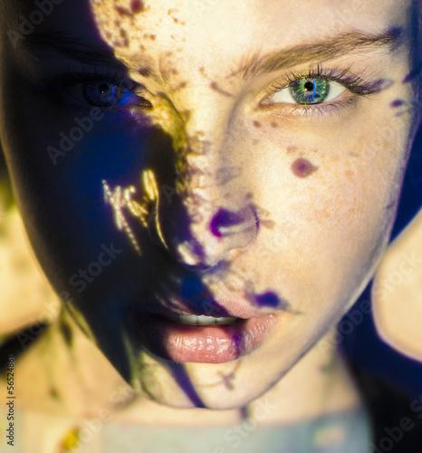woman fusion style color face  beauty close-up portrait - 56524861