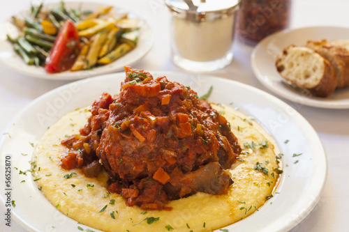 braised veal also called osso buco on polenta