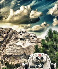 Mount Rushmore, South Dakota. View with telescope on foreground