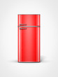 old retro vintage red refrigerator in front view