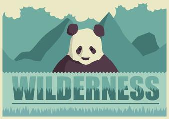 Retro poster with panda.