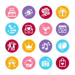 16 web icon set - Party, Birthday and celebration