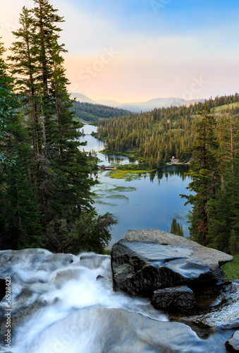 Twin Lakes waterfall at Sunrise