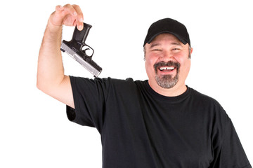 Man Surrender Holds His Gun Up Properly